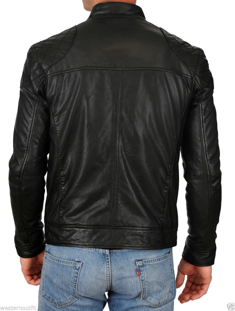 Biker Jacket - Men Real Lambskin Leather Jacket KM101 - Koza Leathers