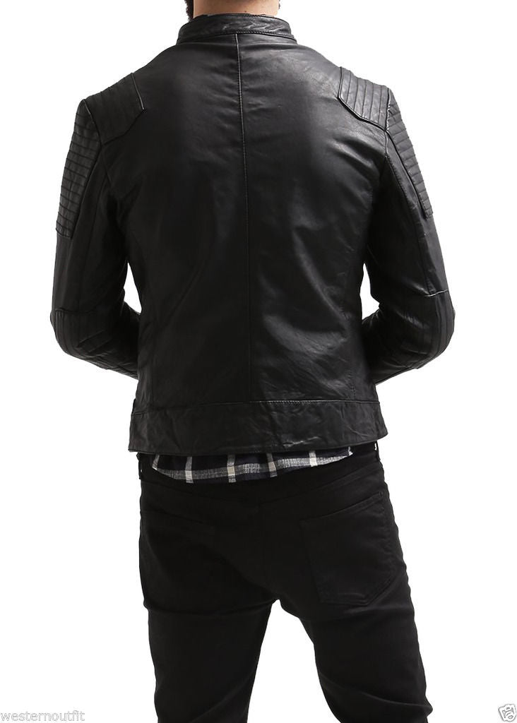 Biker Jacket - Men Real Lambskin Leather Jacket KM103 - Koza Leathers