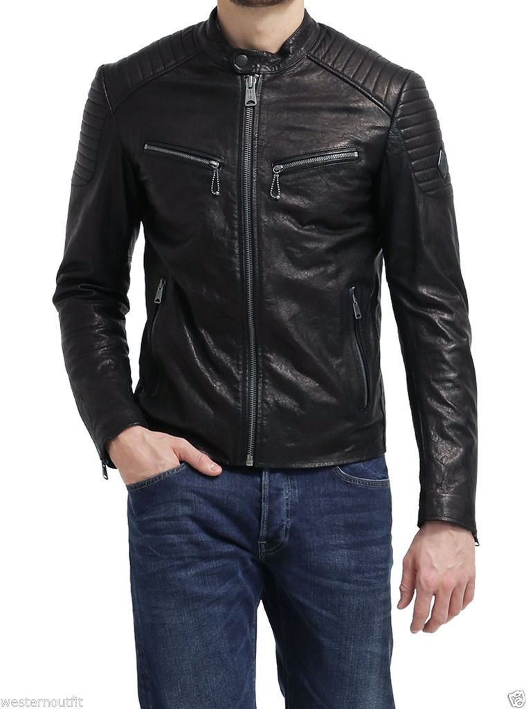 Biker Jacket - Men Real Lambskin Leather Jacket KM104 - Koza Leathers