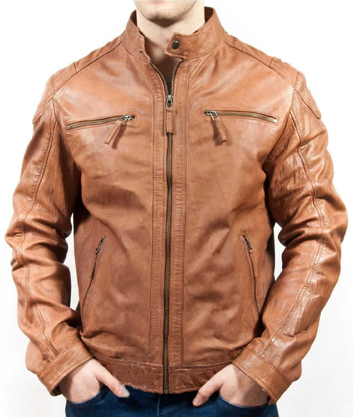Biker Jacket - Men Real Lambskin Leather Jacket KM034 - Koza Leathers