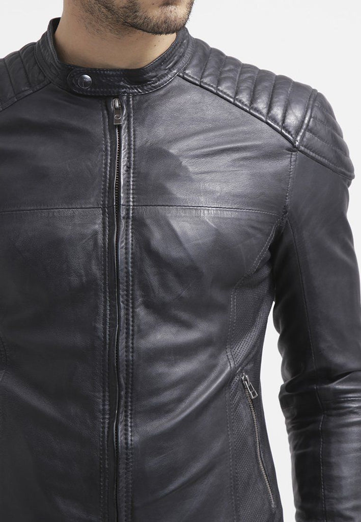 Biker Jacket - Men Real Lambskin Leather Jacket KM106 - Koza Leathers