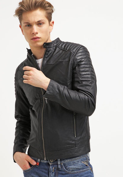 Biker Jacket - Men Real Lambskin Leather Jacket KM112 - Koza Leathers