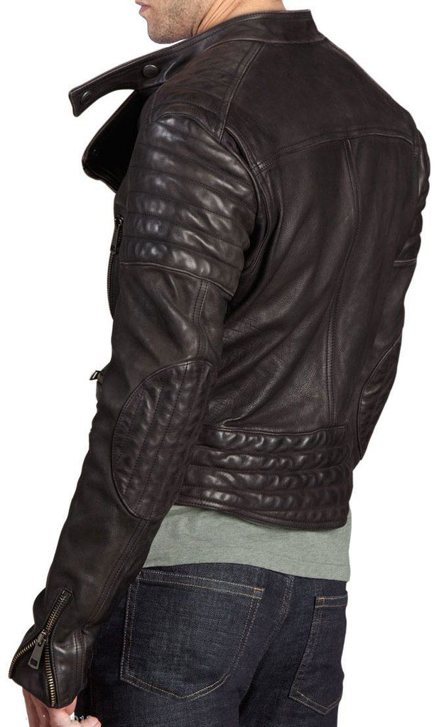 Biker Jacket - Men Real Lambskin Leather Jacket KM055 - Koza Leathers