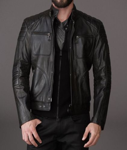 Biker Jacket - Men Real Lambskin Leather Jacket KM118 - Koza Leathers