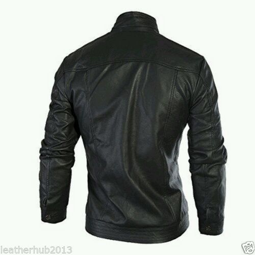 Biker Jacket - Men Real Lambskin Leather Jacket KM120 - Koza Leathers