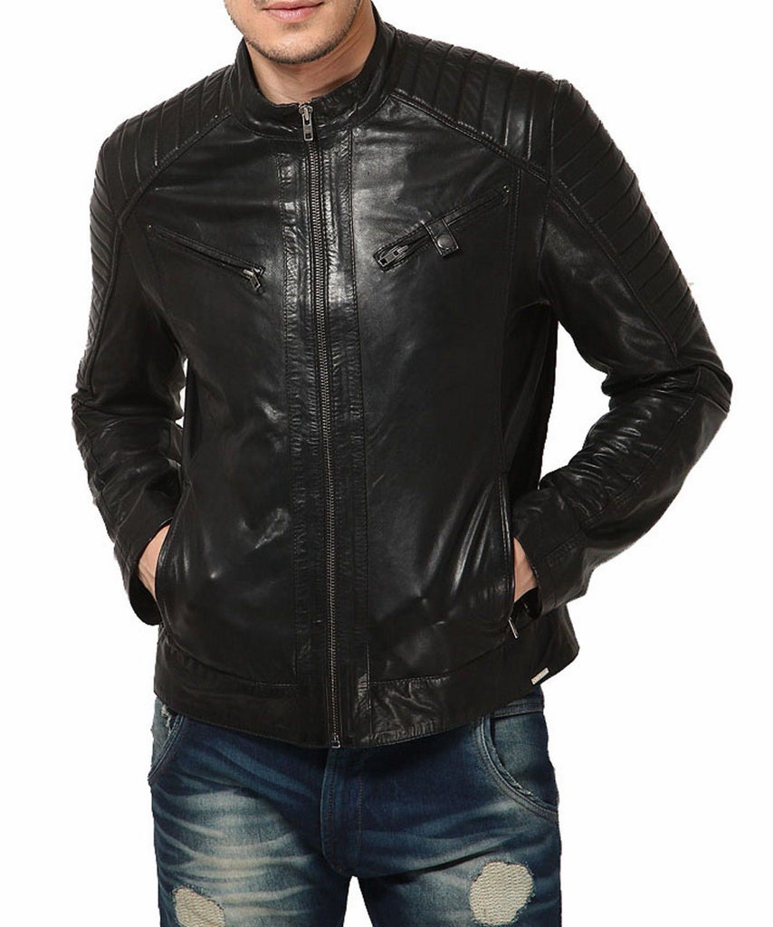Biker Jacket - Men Real Lambskin Leather Jacket KM123 - Koza Leathers