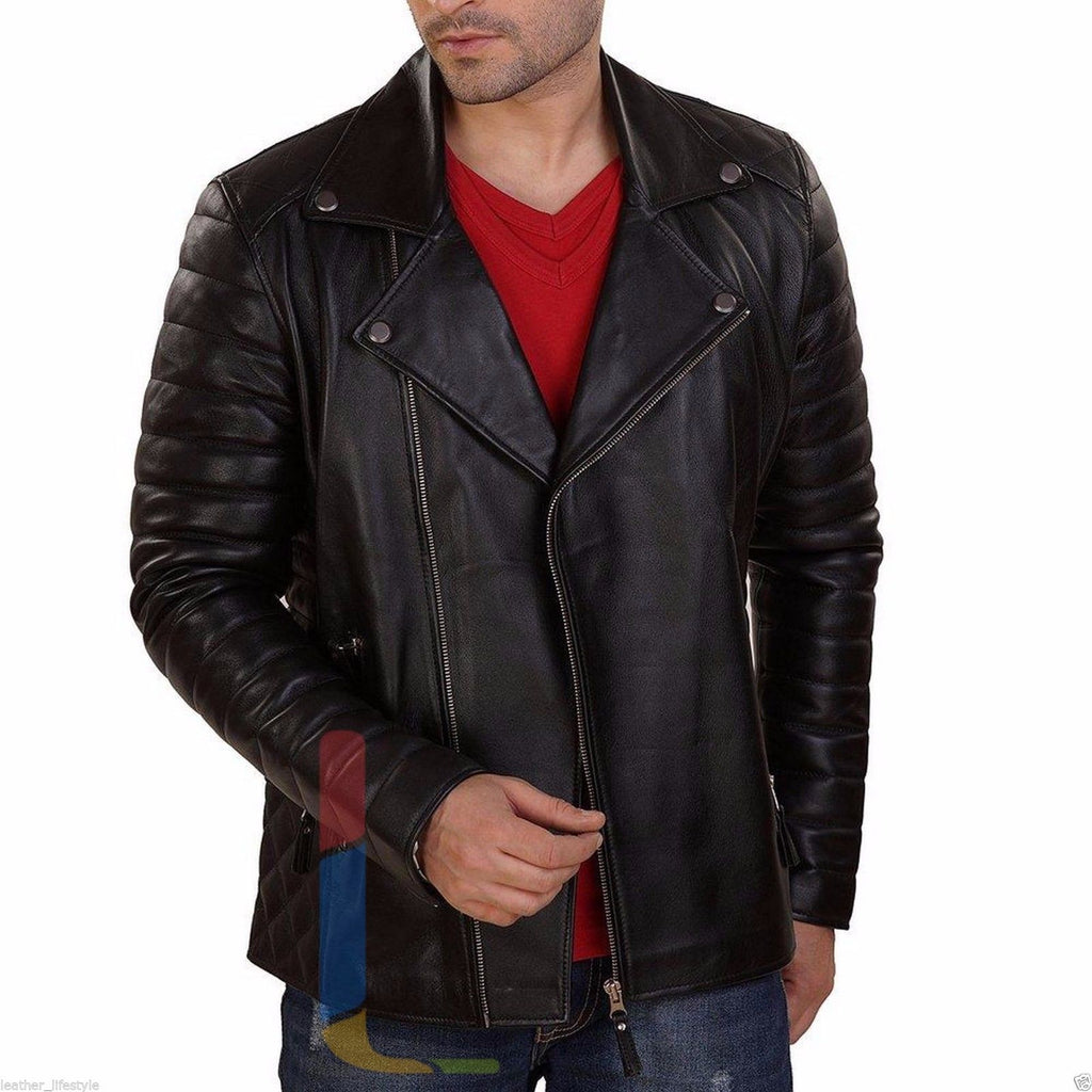 Biker Jacket - Men Real Lambskin Leather Jacket KM125 - Koza Leathers