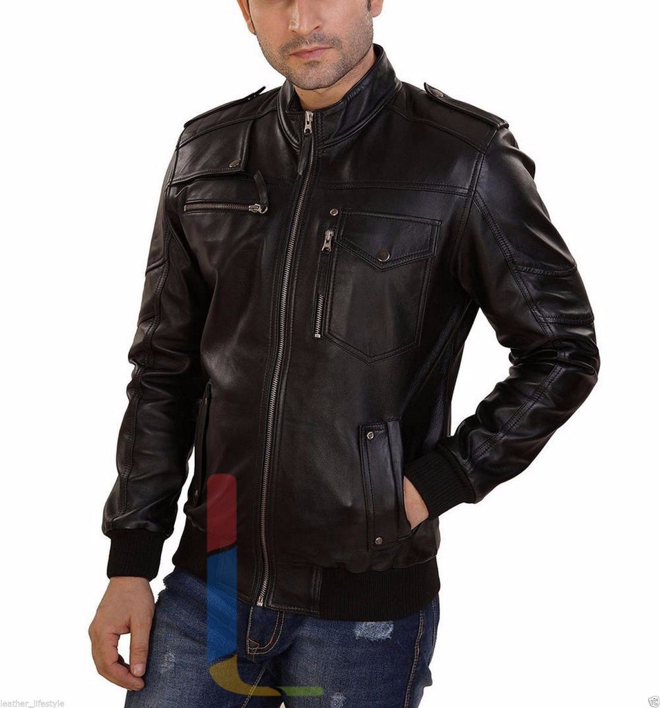 Biker Jacket - Men Real Lambskin Leather Jacket KM127 - Koza Leathers
