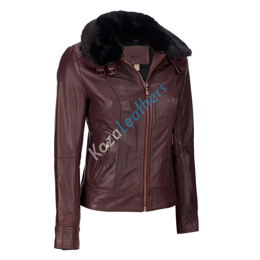 Biker / Motorcycle Jacket - Women Real Lambskin Leather Biker Jacket KW096 - Koza Leathers