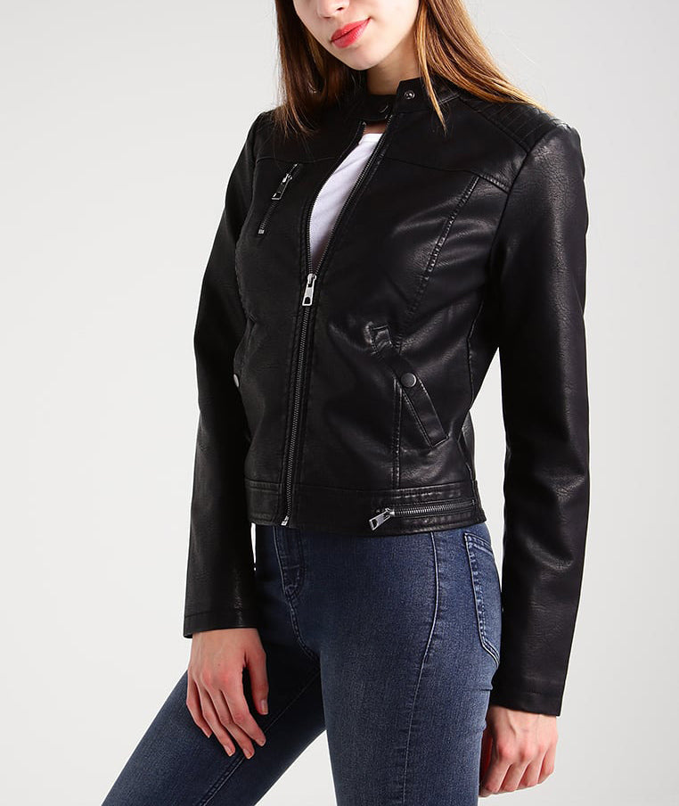 Biker / Motorcycle Jacket - Women Real Lambskin Leather Biker Jacket KW186 - Koza Leathers