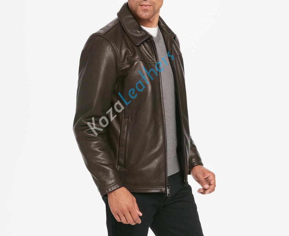 Koza Leathers Men's Genuine Lambskin Bomber Leather Jacket NJ005