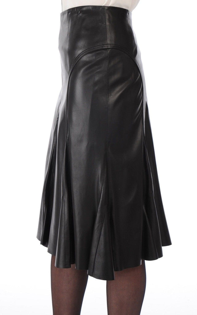 Knee Length Skirt - Women Real Lambskin Leather Slim Fit Skirt WS041 - Koza Leathers