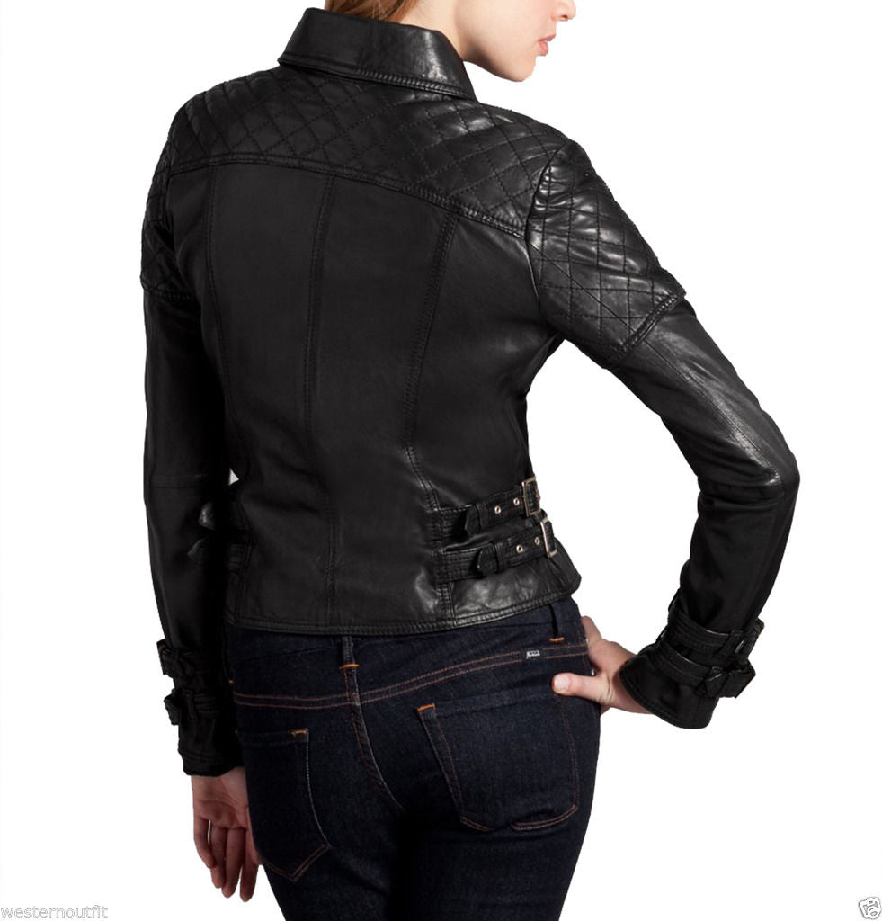 Women Real Lambskin Leather Biker Jacket KW027