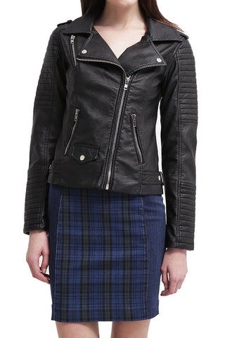 Women Real Lambskin Leather Biker Jacket KW028