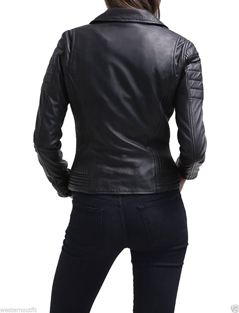 Women Real Lambskin Leather Biker Jacket KW029