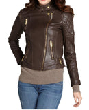 Biker / Motorcycle Jacket - Women Real Lambskin Leather Biker Jacket KW030 - Koza Leathers
