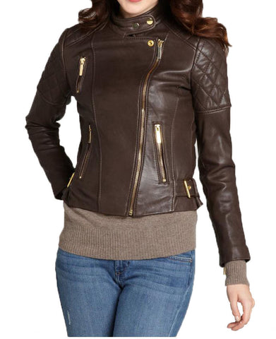 Women Real Lambskin Leather Biker Jacket KW030