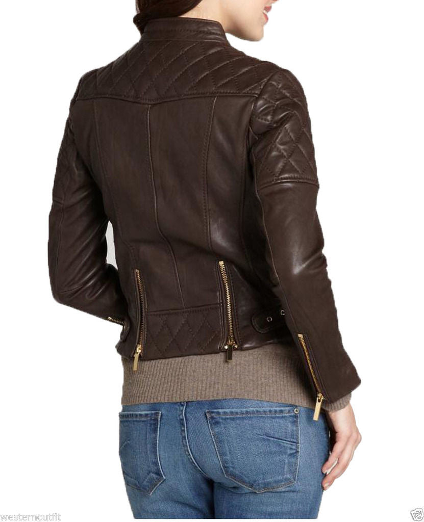 Biker / Motorcycle Jacket - Women Real Lambskin Leather Jacket KW013 - Koza Leathers