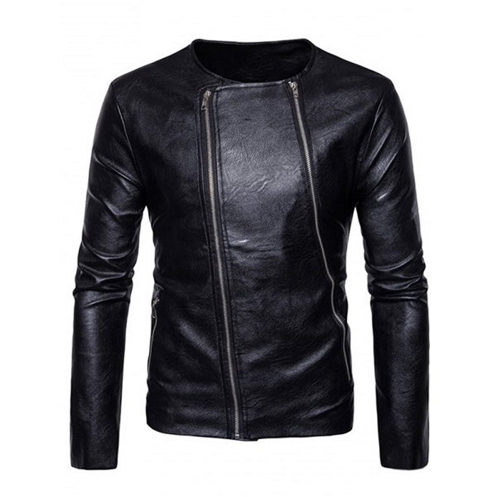 Biker Jacket - Men Real Lambskin Motorcycle Leather Biker Jacket KM582 - Koza Leathers