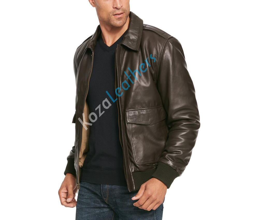 Koza Leathers Men's Genuine Lambskin Bomber Leather Jacket NJ014