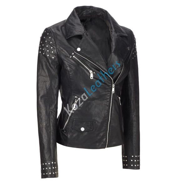 Women Real Lambskin Leather Biker Jacket KW111
