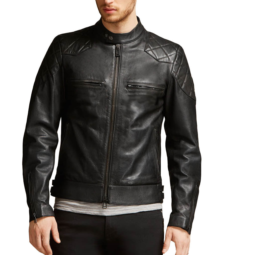 Biker Jacket - Men Real Lambskin Motorcycle Leather Biker Jacket KM326 - Koza Leathers