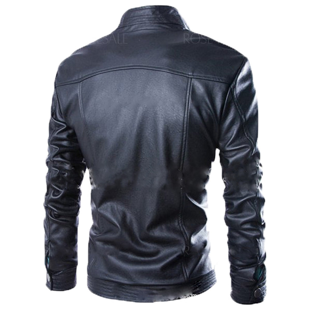 Biker Jacket - Men Real Lambskin Motorcycle Leather Biker Jacket KM584 - Koza Leathers