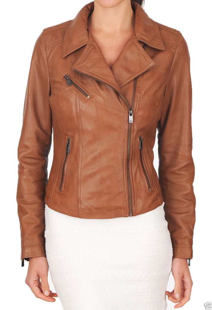 Biker / Motorcycle Jacket - Women Real Lambskin Leather Biker Jacket KW032 - Koza Leathers