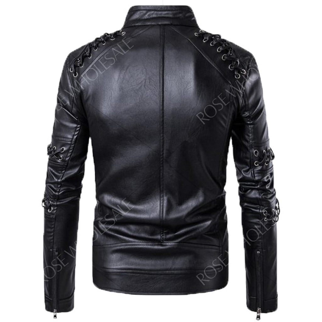 Biker Jacket - Men Real Lambskin Motorcycle Leather Biker Jacket KM588 - Koza Leathers