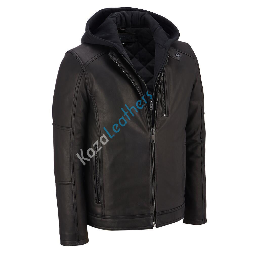 Biker Jacket - Men Real Lambskin Motorcycle Leather Biker Jacket KM162 - Koza Leathers