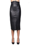 Knee Length Skirt - Women Real Lambskin Leather Slim Fit Skirt WS059 - Koza Leathers
