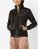 Women Real Lambskin Leather Biker Jacket KW574