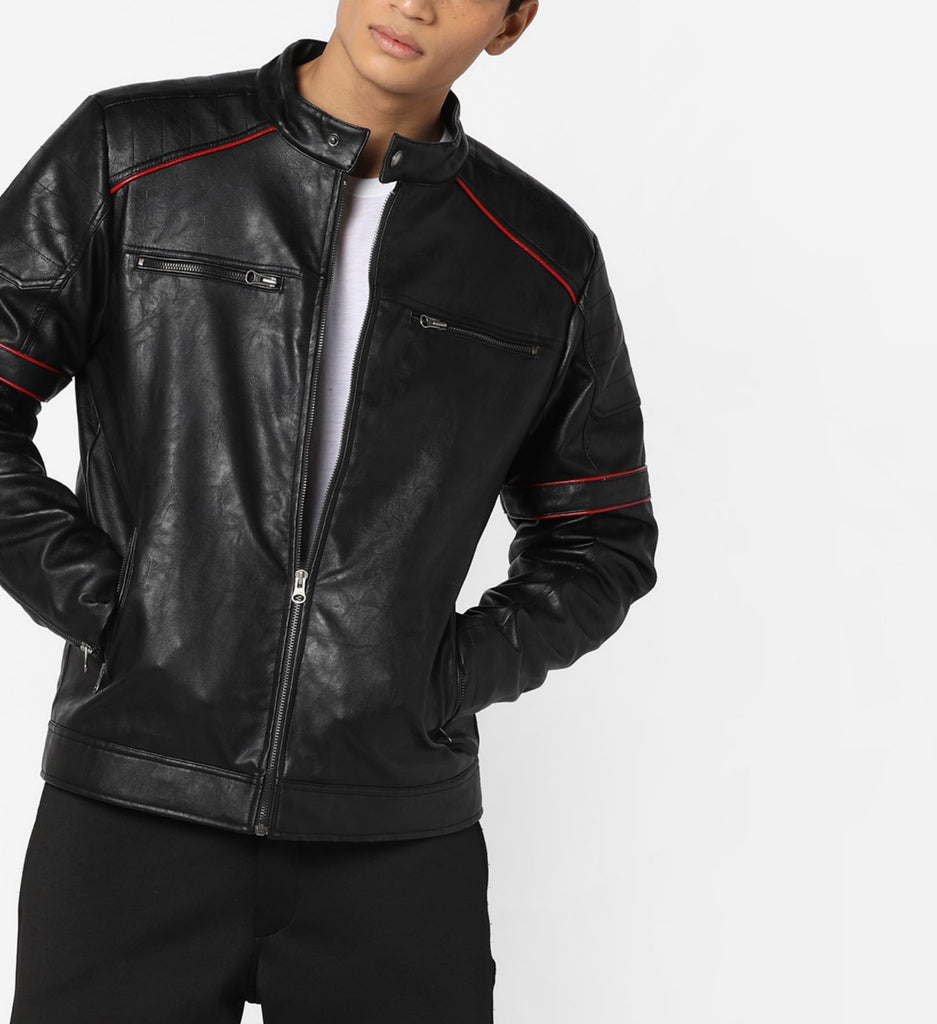 Biker Jacket - Men Real Lambskin Motorcycle Leather Biker Jacket KM618 - Koza Leathers