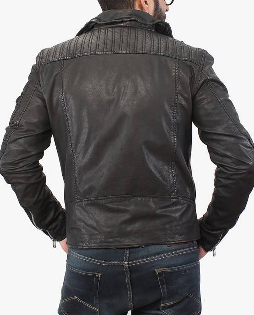 Biker Jacket - Men Real Lambskin Motorcycle Leather Biker Jacket KM397 - Koza Leathers