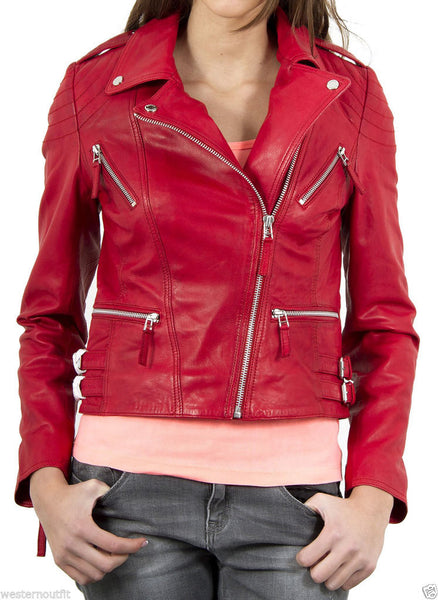Women Real Lambskin Leather Biker Jacket KW033