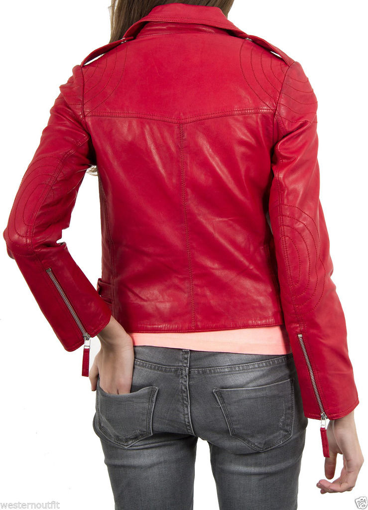 Biker / Motorcycle Jacket - Women Real Lambskin Leather Biker Jacket KW033 - Koza Leathers