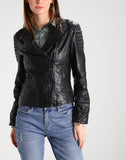Biker / Motorcycle Jacket - Women Real Lambskin Leather Biker Jacket KW207 - Koza Leathers