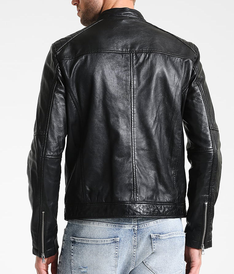 Biker Jacket - Men Real Lambskin Motorcycle Leather Biker Jacket KM250 - Koza Leathers