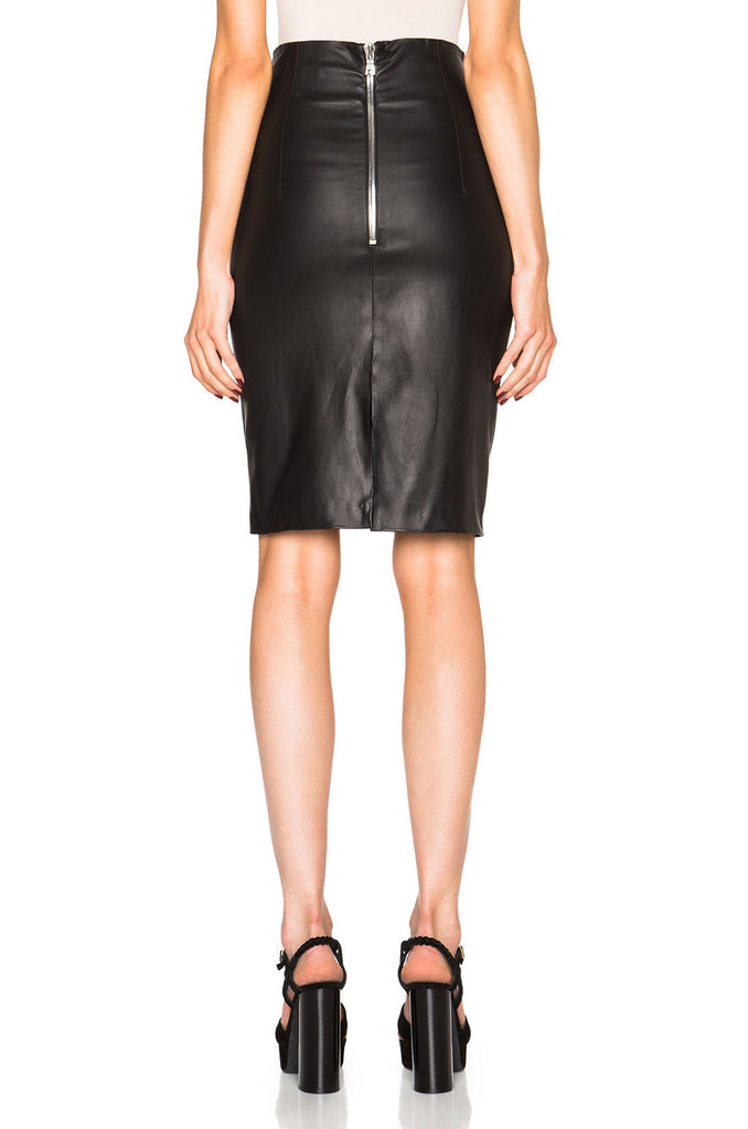 Knee Length Skirt - Women Real Lambskin Leather Slim Fit Skirt WS060 - Koza Leathers