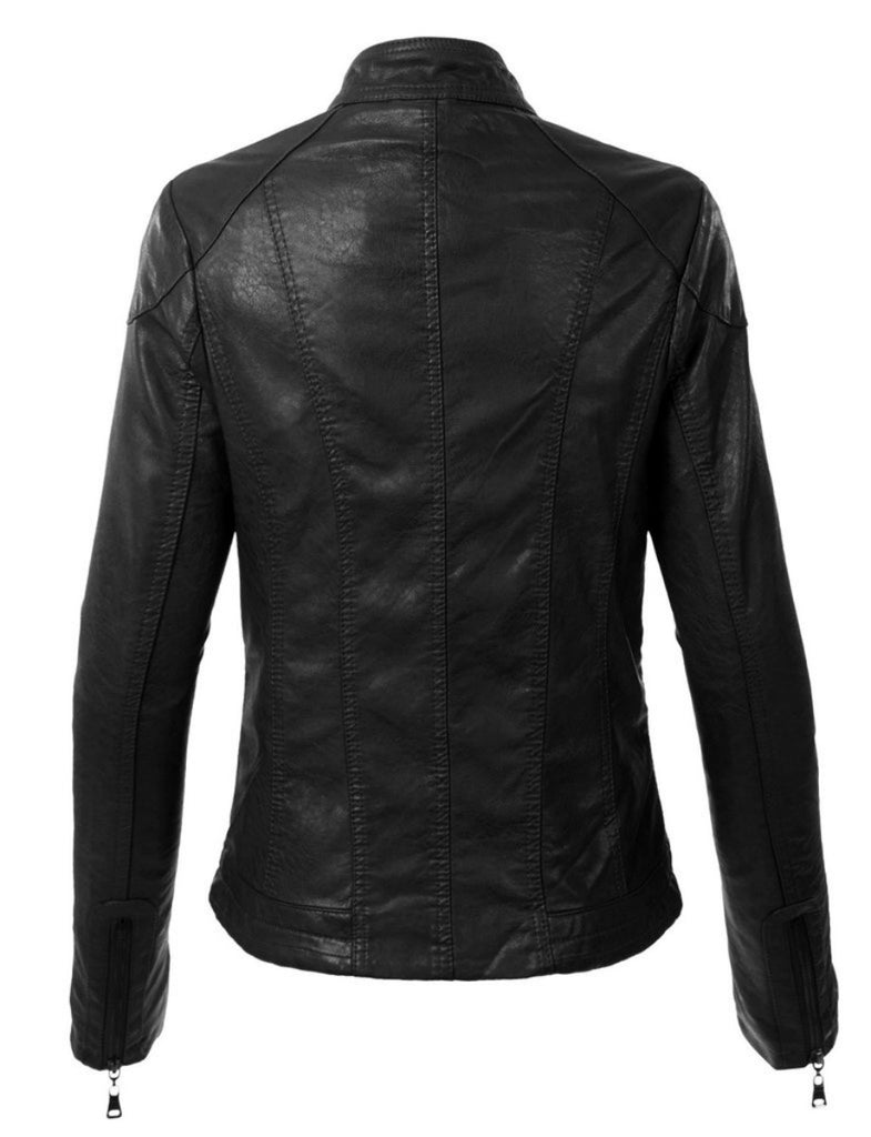 Biker / Motorcycle Jacket - Women Real Lambskin Leather Biker Jacket KW298 - Koza Leathers