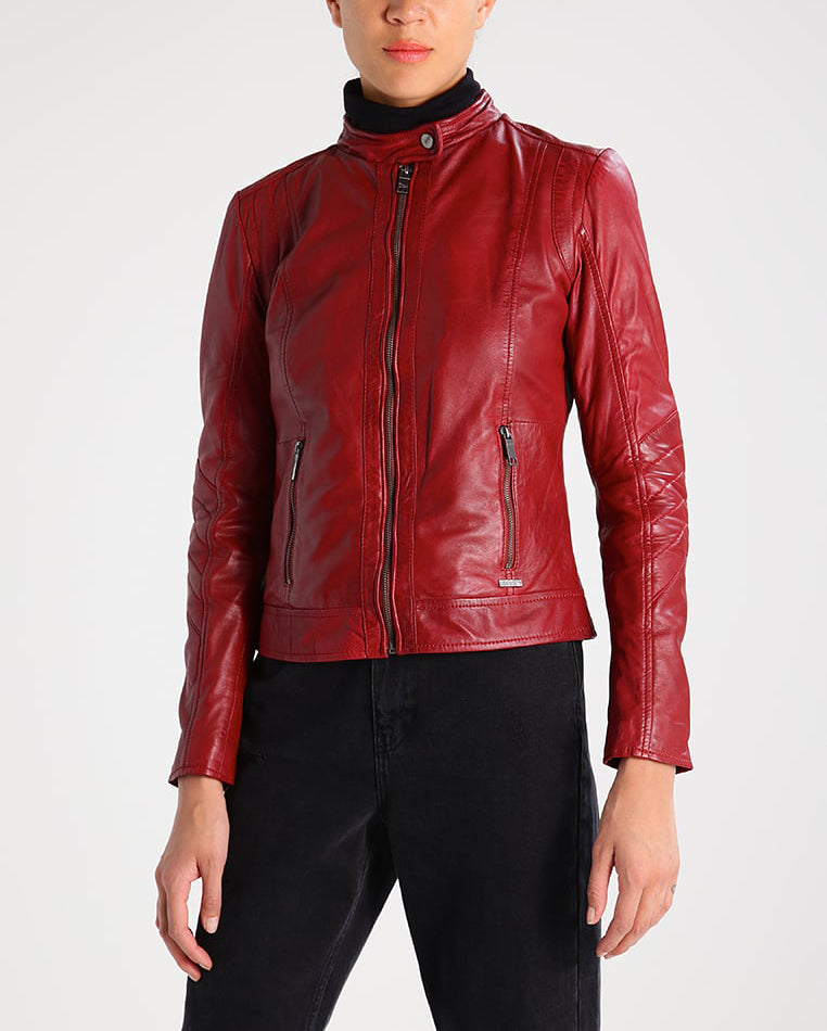 Biker / Motorcycle Jacket - Women Real Lambskin Leather Biker Jacket KW208 - Koza Leathers