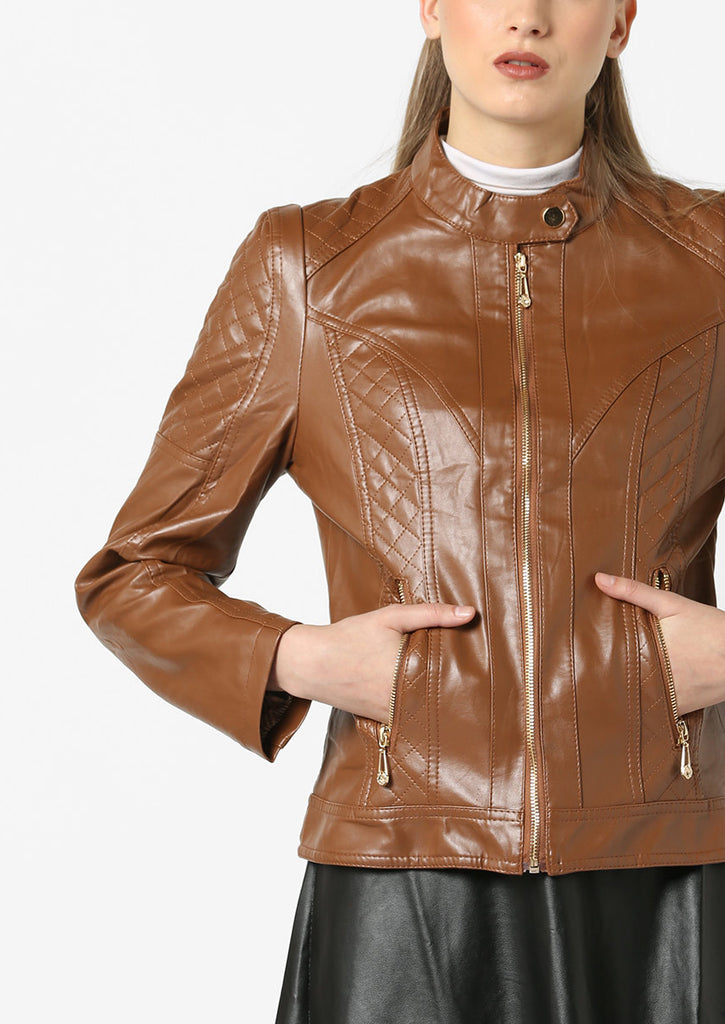 Women Real Lambskin Leather Biker Jacket KW576