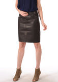 Knee Length Skirt - Women Real Lambskin Leather Slim Fit Skirt WS061 - Koza Leathers