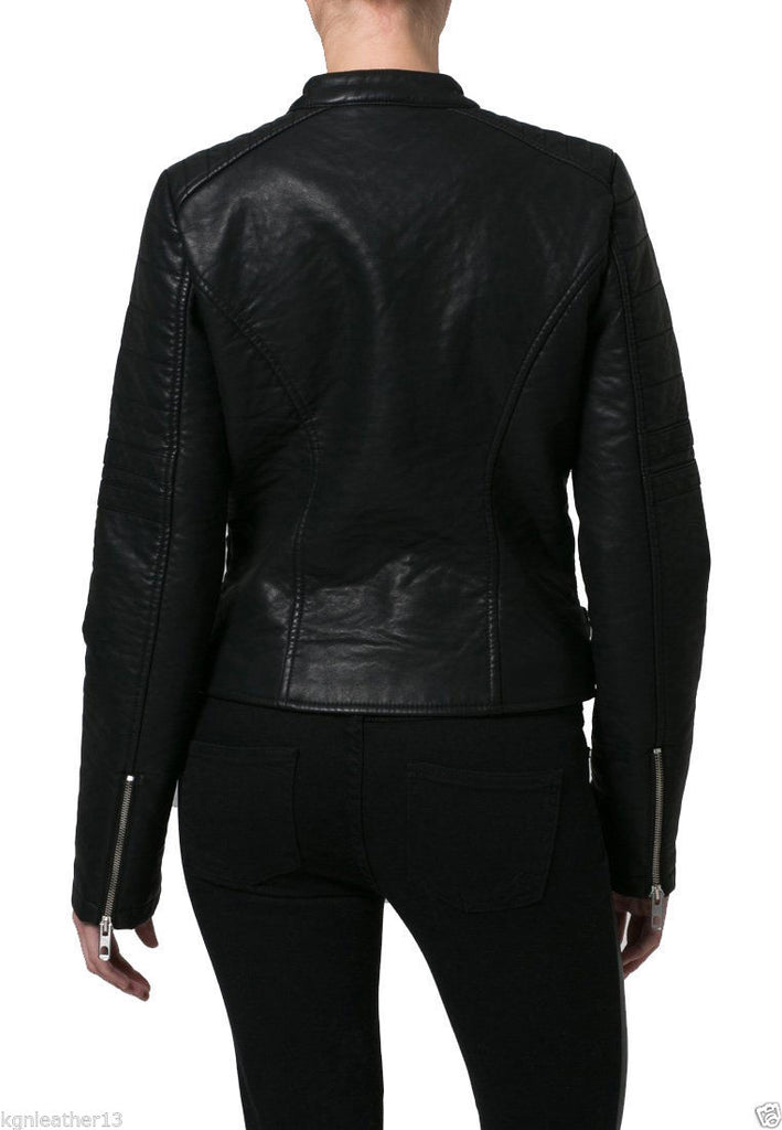 Biker / Motorcycle Jacket - Women Real Lambskin Leather Biker Jacket KW036 - Koza Leathers