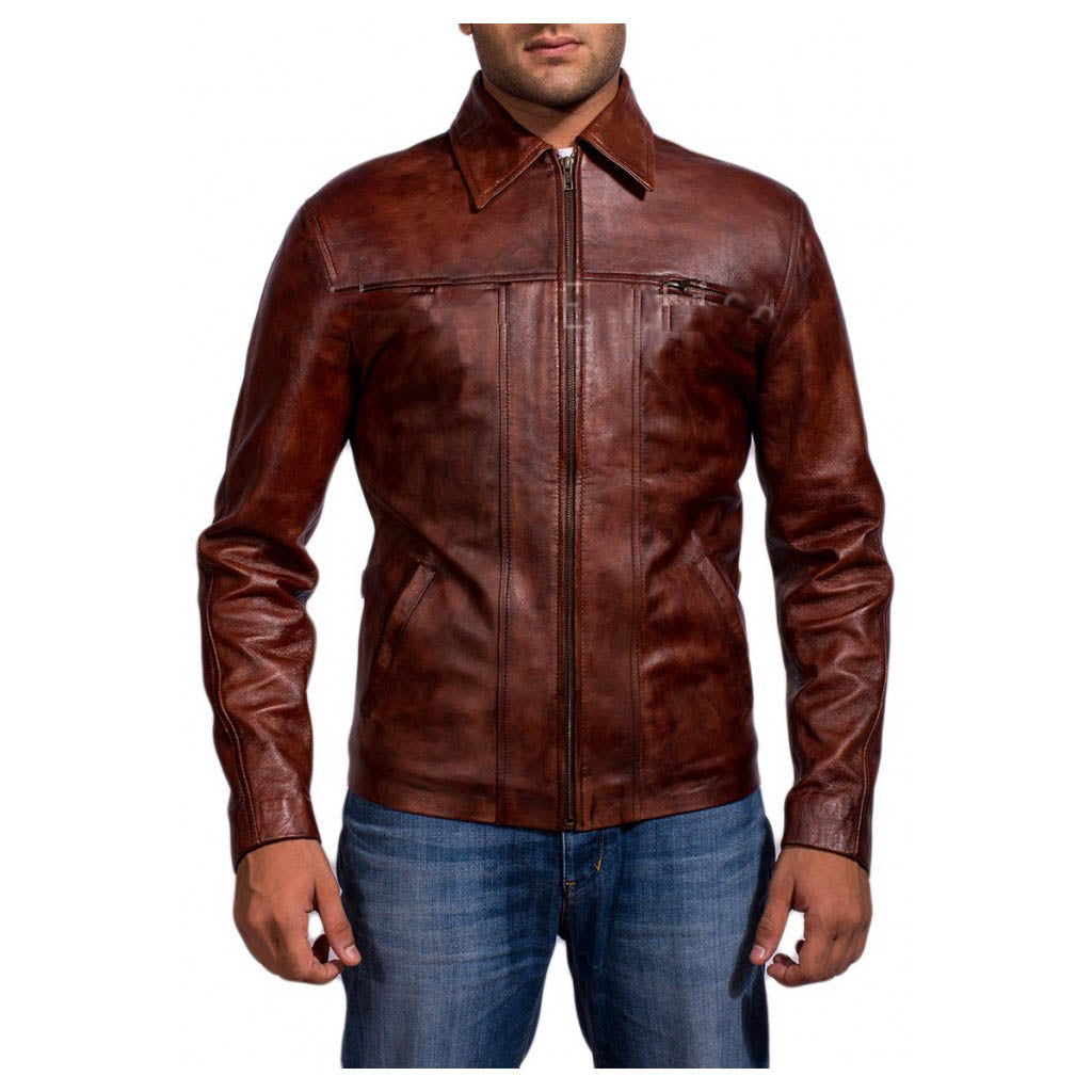 Biker Jacket - Men Real Lambskin Motorcycle Leather Biker Jacket KM329 - Koza Leathers