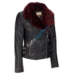 Women Real Lambskin Leather Biker Jacket KW114