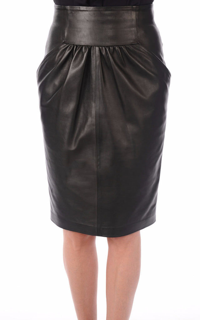 Knee Length Skirt - Women Real Lambskin Leather Slim Fit Skirt WS062 - Koza Leathers