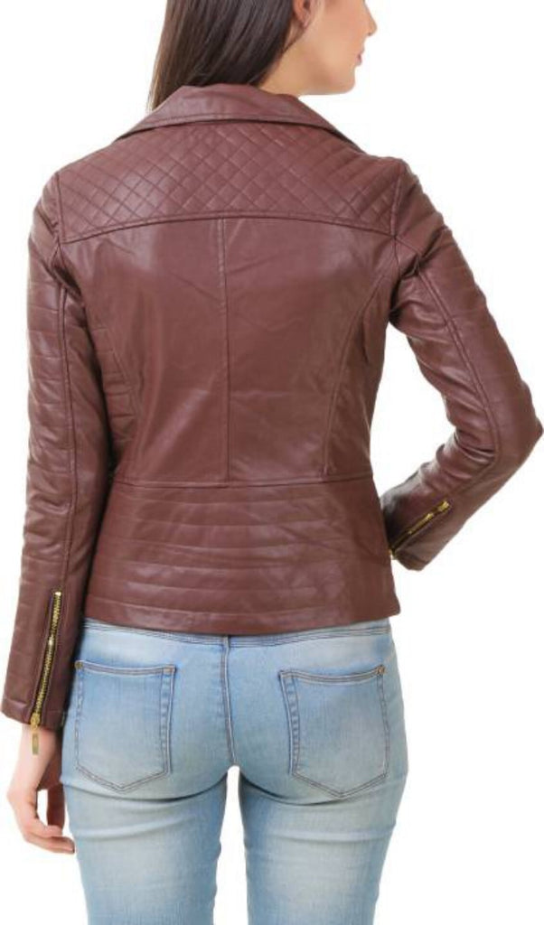 Biker / Motorcycle Jacket - Women Real Lambskin Leather Biker Jacket KW394 - Koza Leathers