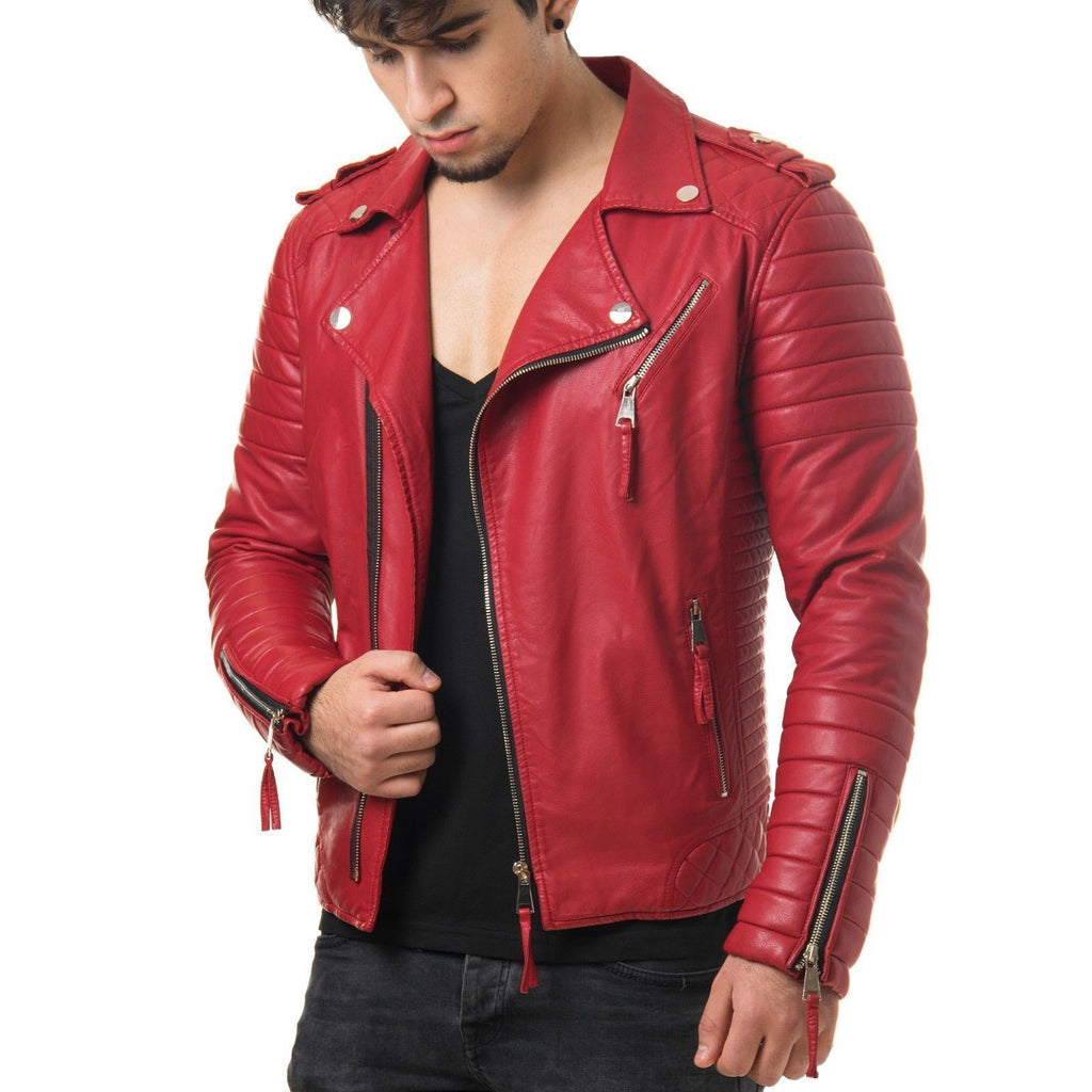 Biker Jacket - Men Real Lambskin Leather Jacket KM015 - Koza Leathers
