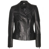 Biker / Motorcycle Jacket - Women Real Lambskin Leather Biker Jacket KW039 - Koza Leathers